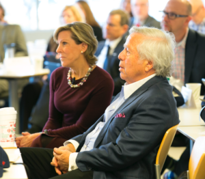 Kathy meets with Robert Kraft and other members of the Kraft Precision Medicine Accelerator